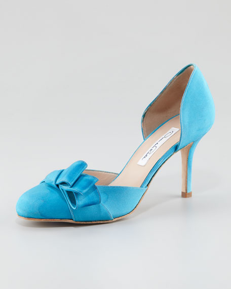 Miss Dodo Crepe de Chine Pump, Blue