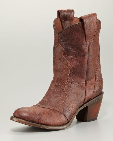 Leon Cowboy Ankle Boot, Brandy