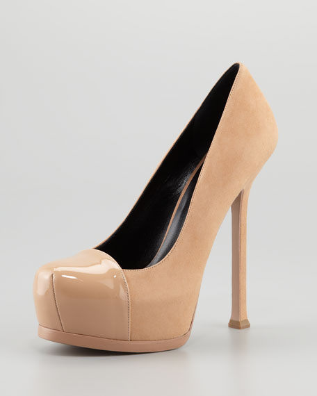 Tribute Two Patent-Cap Suede Pump, Brown