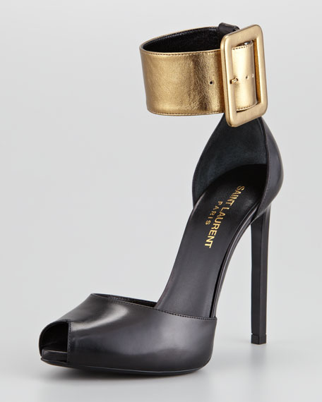 Metallic Two-Tone Leather Pump, Black/Gold