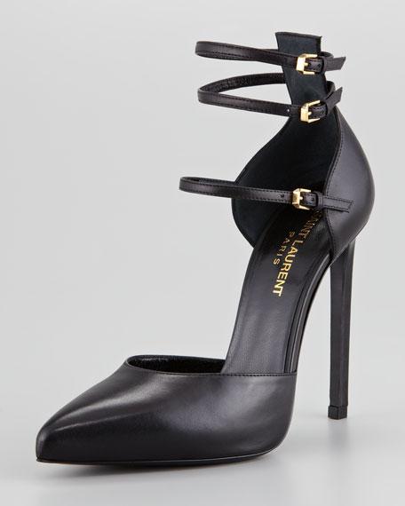 Paris Triple Ankle-Strap Pump, Black
