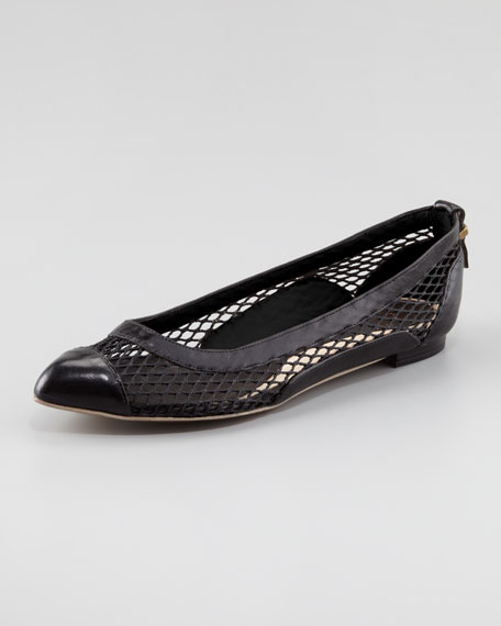 Mesh & Leather Ballerina Flat, Black