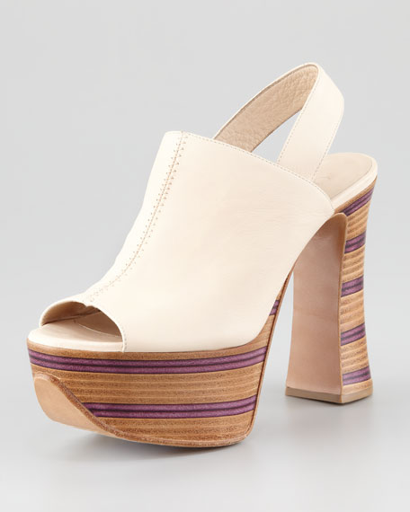 Wooden Stacked Platform Slingback
