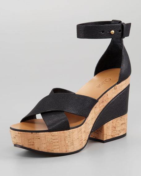 Crisscross Cork and Leather Platform Sandal