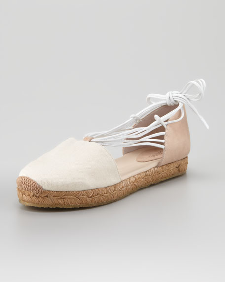 Canvas Leather Flat Espadrille, Tan