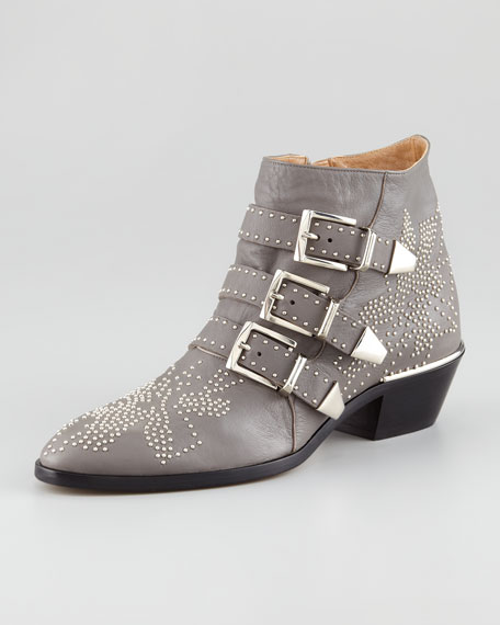 Triple-Buckle Bootie, Gray