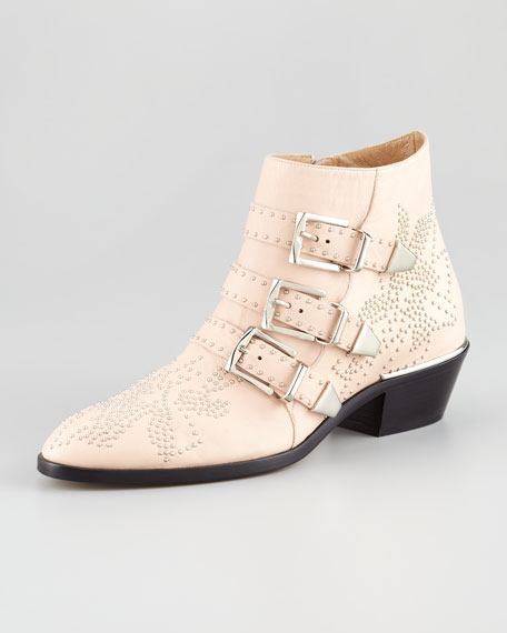 Triple-Buckle Bootie, Nude