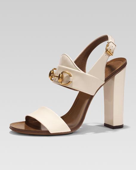 Patent Leather Horsebit Sandal, White