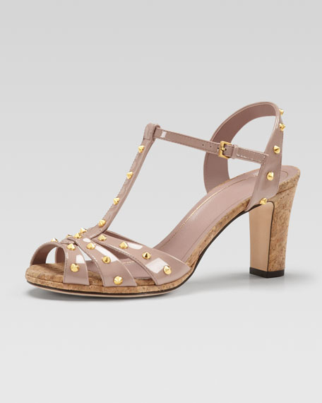 Studded Patent Leather Sandal, Dark Cipria