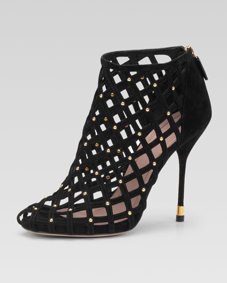 Studded Lattice Ankle Bootie, Black