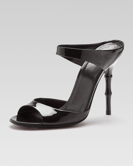 Bamboo-Heel Patent Leather Sandal, Black