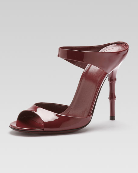 Bamboo-Heel Patent Leather Sandal, Scarlet