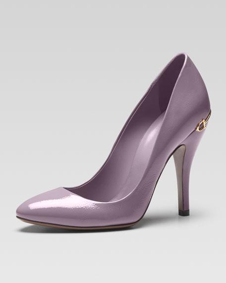 Horsebit-Heel Patent Leather Pump, Lavender