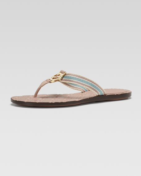 Web Thong Sandal, Rose/Light Blue