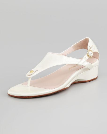 Kat Patent Low-Wedge Thong Sandal, White