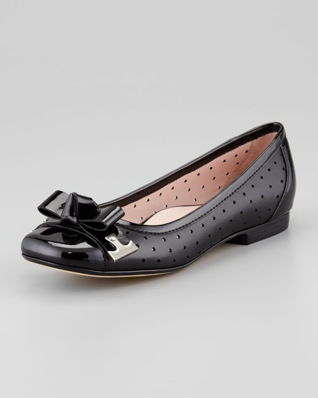 Buzz Perforated Bow-Toe Ballerina Flat, Black