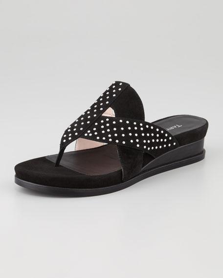 Shonda Suede Low-Wedge Thong Sandal