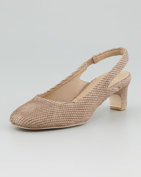 Round-Toe Slingback Pump, Sable