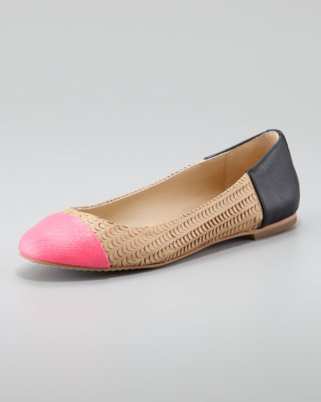 Baca Fish-Scale Ballerina Flats, Pink/Nude, Black