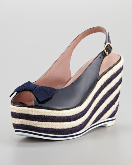 Patent Leather Striped Wedge Sandal