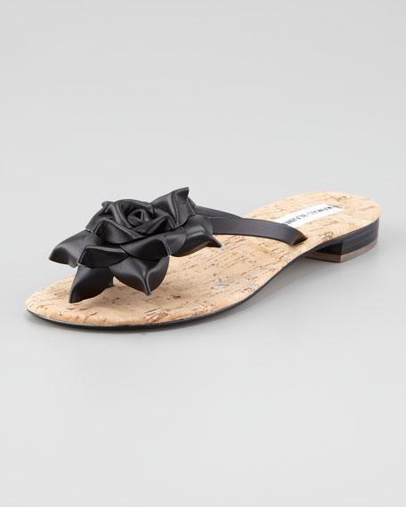 Patricia Flower Thong Flat Sandal, Black