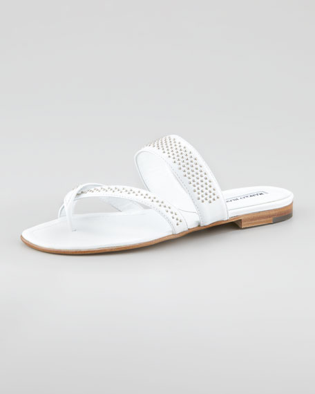Susabor Toe-Ring Studded Flat Sandal, White