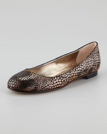 Tere Animal-Print Ballerina Flat, Beige