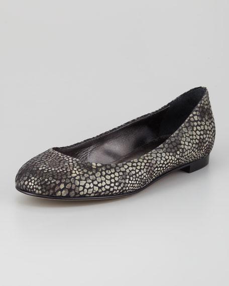 Tere Animal-Print Ballerina Flat, Gray
