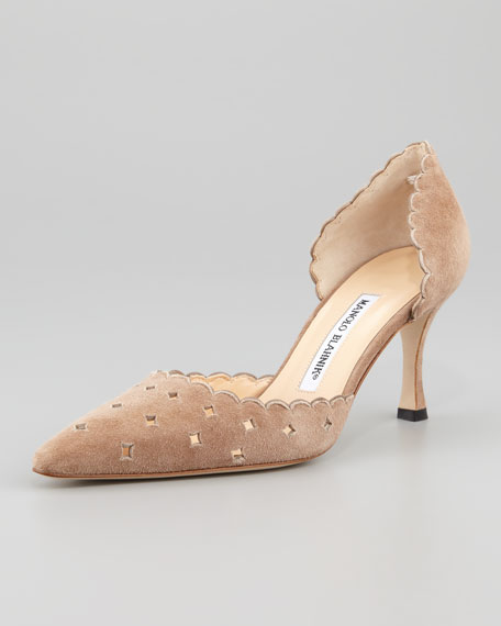 Astro Suede Perforated d'Orsay Pump, Taupe