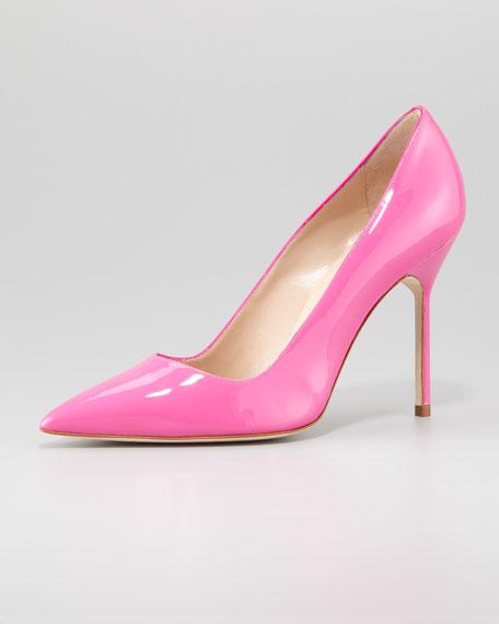 Manolo Blahnik BB Bright Patent Pointed Pump, Pink