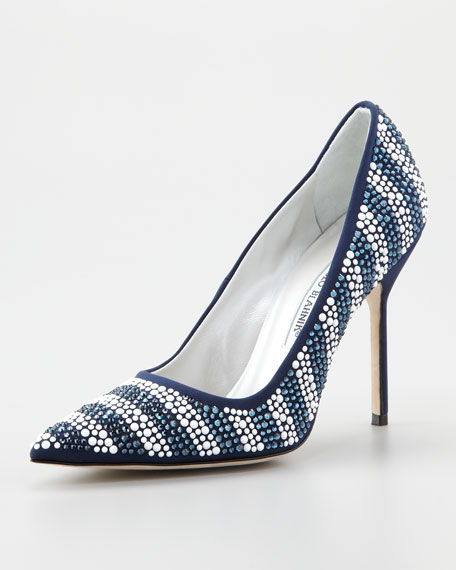 Riga Crystal Striped Pointed-Toe Pump