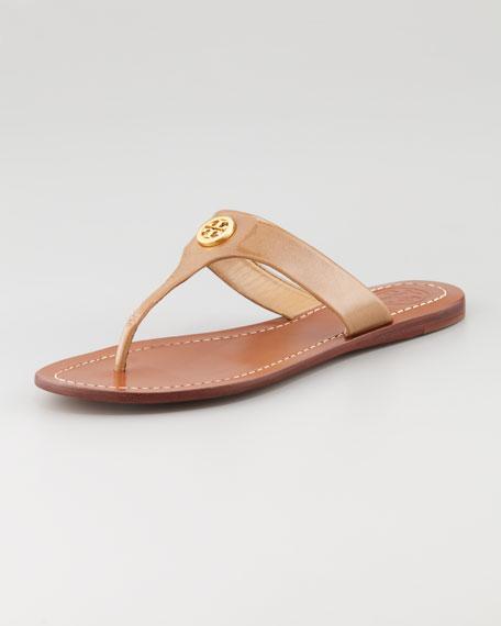 Cameron Patent Logo Thong Sandal, Sand