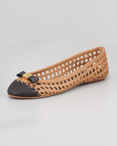 Carlyle Woven Leather Ballerina Flat, Sand/Black
