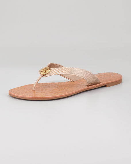 Thora 2 Lizard-Print Thong Sandal, Brazil Nut