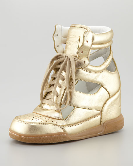 Cutout Wedge Sneaker, Gold