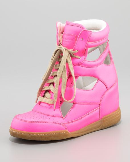 Cutout Wedge Sneaker, Nude