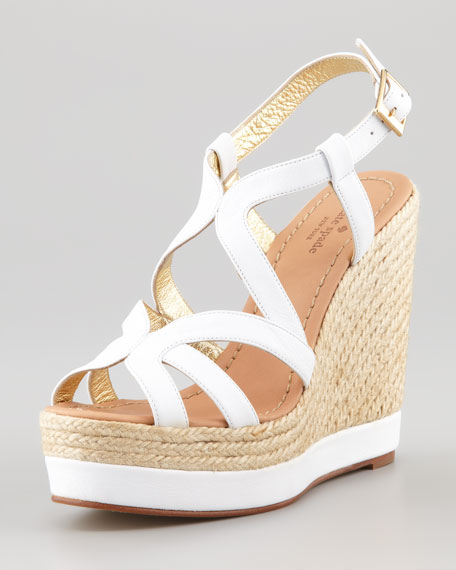 kate spade new yorkliv tumbled calfskin espadrille wedge, white - Kate Spade New York Liv Tumbled Calfskin Espadrille Wedge, White