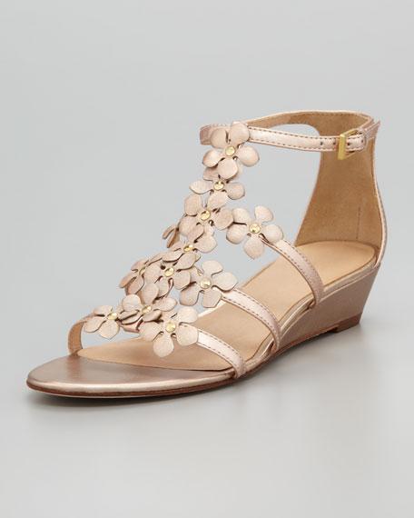 vikki floral micro-wedge sandal