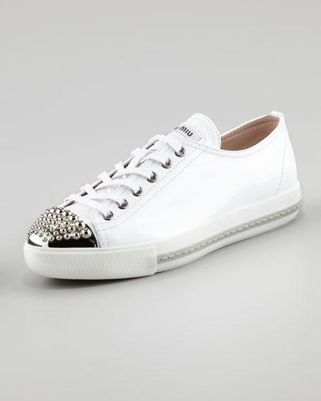 Studded Toe Patent Sneaker, White