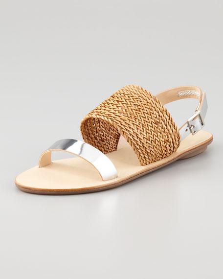 Dree Woven Flat Sandal, Tan/Silver