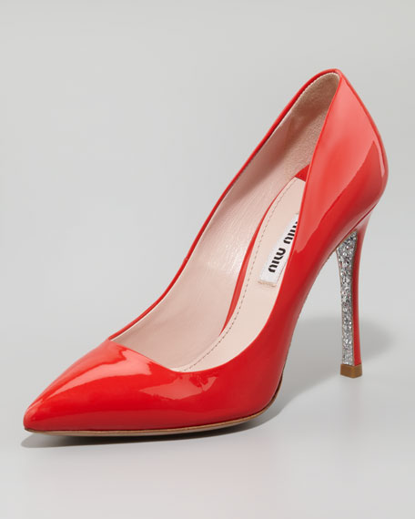 Patent Glitter Pointed Pump