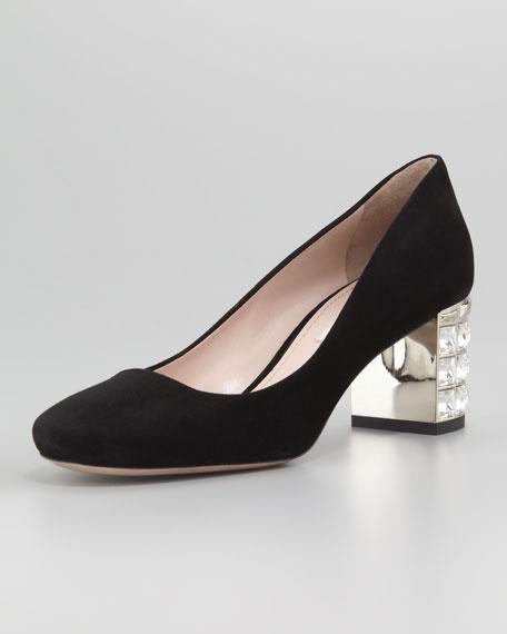 Suede Jewel-Heeled Pump, Black