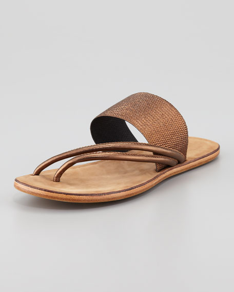 Zaira Elastic Webbed Elastic Thong Sandal, Bronze
