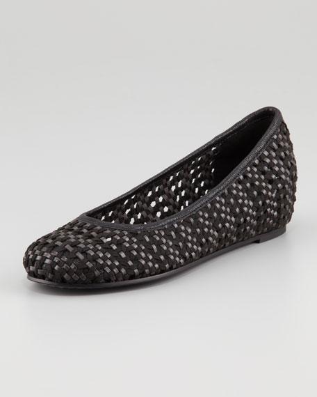 Sew Internal-Wedge Woven Ballerina Flat, Black