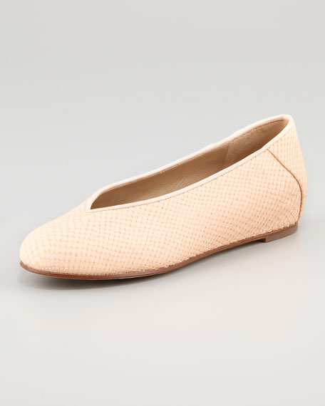 Patch 1 Snake-Embossed Ballerina Flat, Rosewater