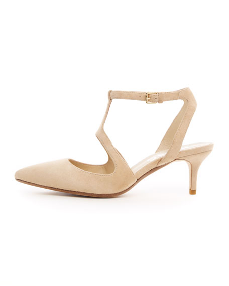 Malin Suede Kitten-Heel Pump