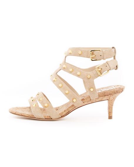 Shay Studded Kitten-Heel Sandal