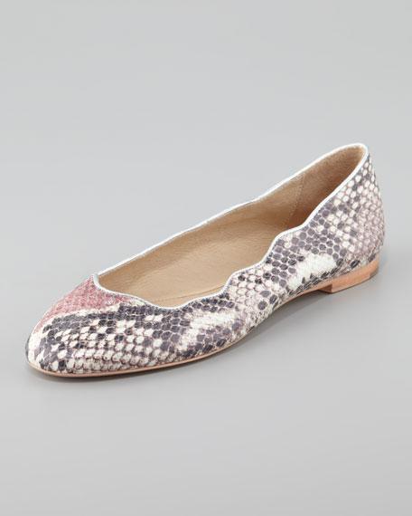 Jailyn Hologram Snake-Print Ballet Flat