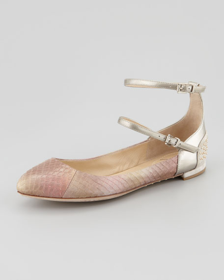 Amata Double-Strap Ballerina Flats, Light Pink