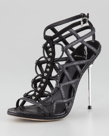 Mirante Studded Stretch Cage Sandal, Black